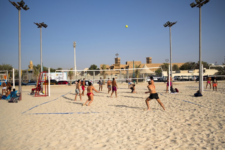 Kite Beach's volleyball courts on the sand