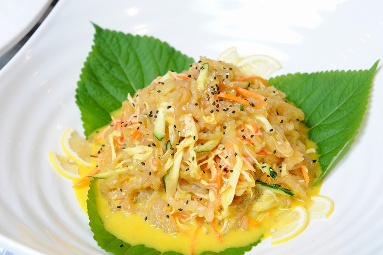 Chilled Jellyfish Salad on a plate