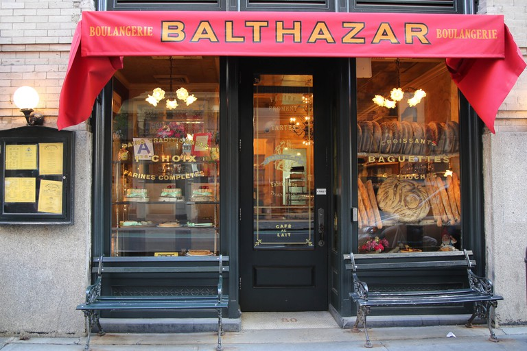 Balthazar: Iconic French brasserie with steak frites, brunch & pastries in a classy space with red banquettes.