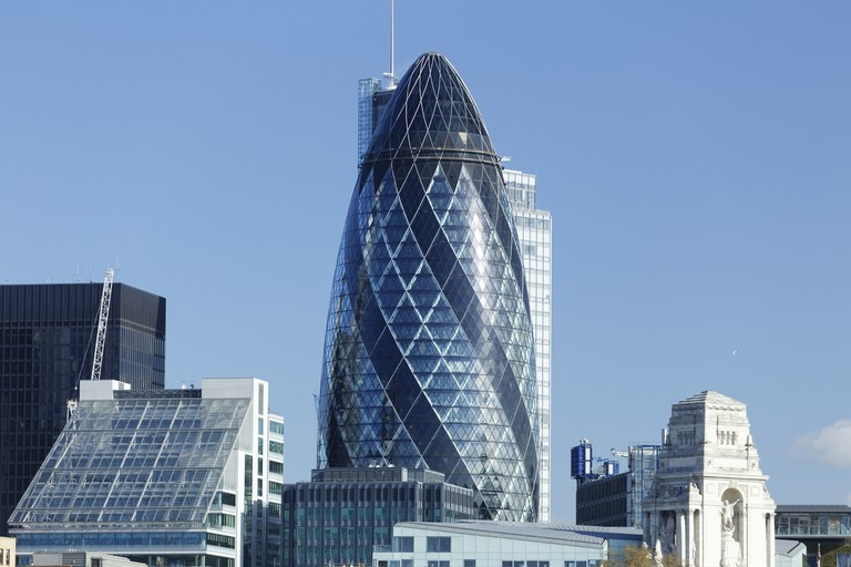 The Gherkin stands 180 metres (590 feet) high