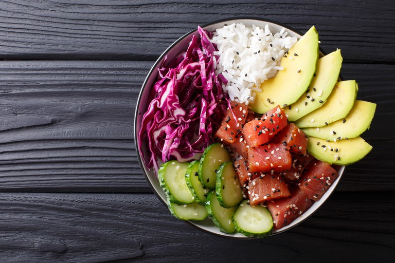 Raw Organic Ahi Tuna Poke Bowl with Rice and Veggies
