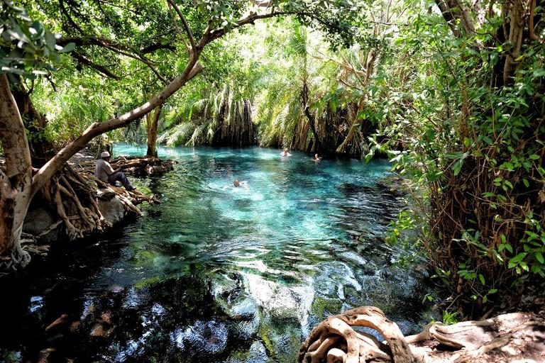 Swimming at Chemka hot springs