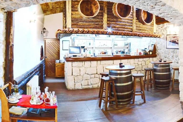 The simple interior of Restoran TavèRna in Cetinje, Montenegro