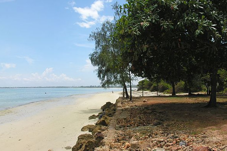 The white, sandy shores of Mbezi Beach