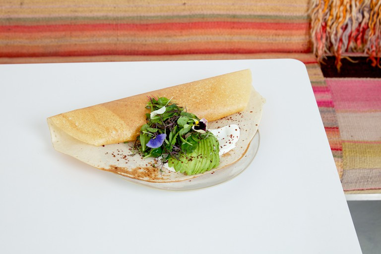Dosa, yogurt, avocado, sprouts from the brunch menu of abcV