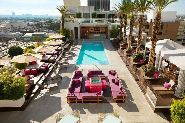 The W Hollywood has a splendid rooftop pool