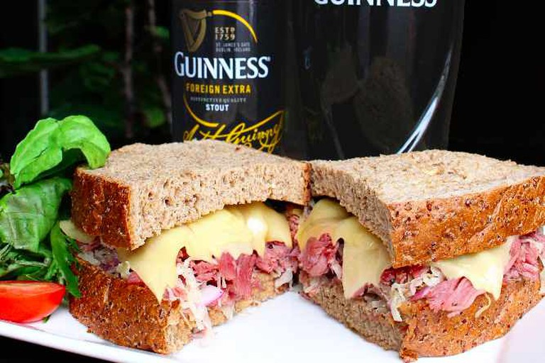 Hot Reuben with Guinness