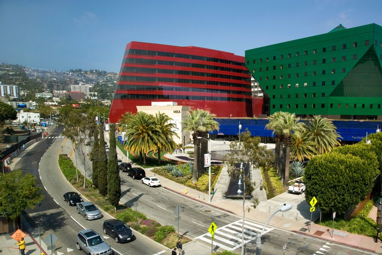 View of Pacific Design Center and Hollywood Hills from West Hollywood Public Library