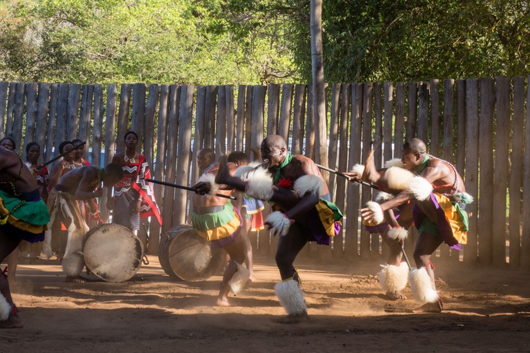 Dancers performing a traditional Swati dance