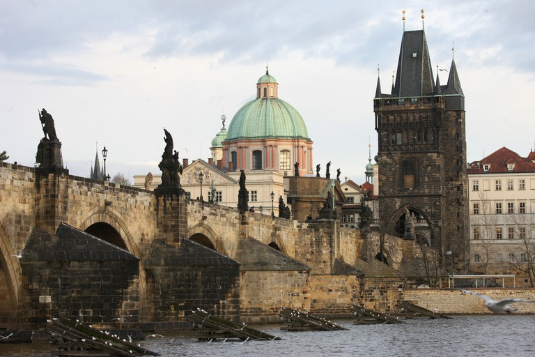 Charles bridge, UNESCO World Heritage Site, and River Vltava