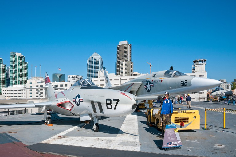 California, San Diego, USS Midway Museum, F9F-8P Couger aircraft exhibit on flight deck