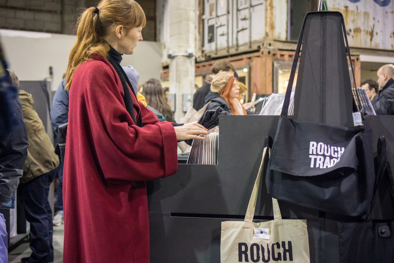 The newly opened Rough Trade NYC record store in the Williamsburg neighborhood of Brooklyn in New York