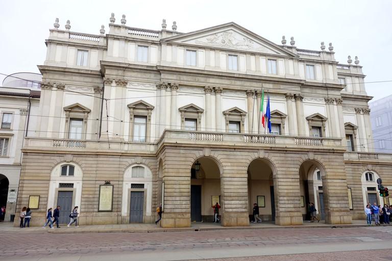 Teatro alla Scala main facade in Milan, Italy