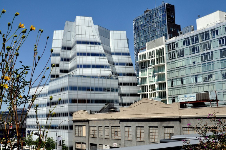 View from the High Line Park to the 2007 IAC World Headquarters Building designed by renowned architect Frank Gehry.