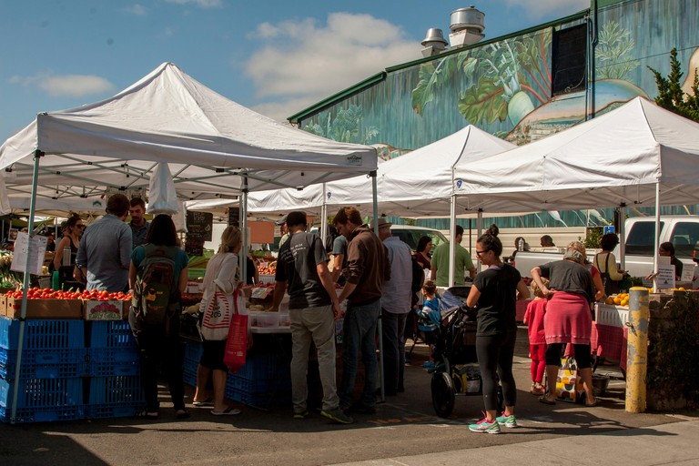 Saturday morning at the Noe Valley Farmers' Market on 24th Street in San Francisco, California.