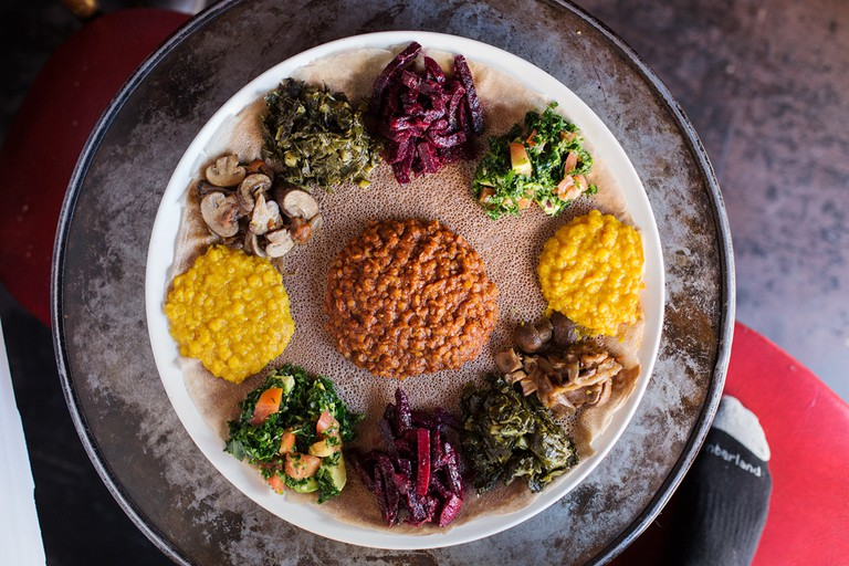 Feast for 2 at Bunna, Ethiopian plant-based cafe, bar, restaurant, and music venue based in Bushwick, Brooklyn.