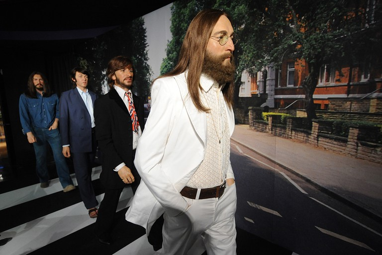 Wax figures of the Music Group the Beatles at Madame Tussauds