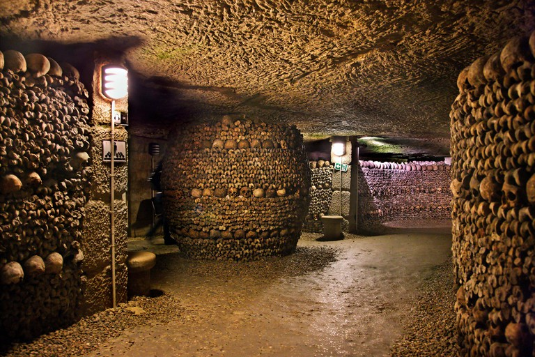 In the Catacombs of Paris, a huge ossuary in some abandoned mines in Montparnasse, Paris, France.
