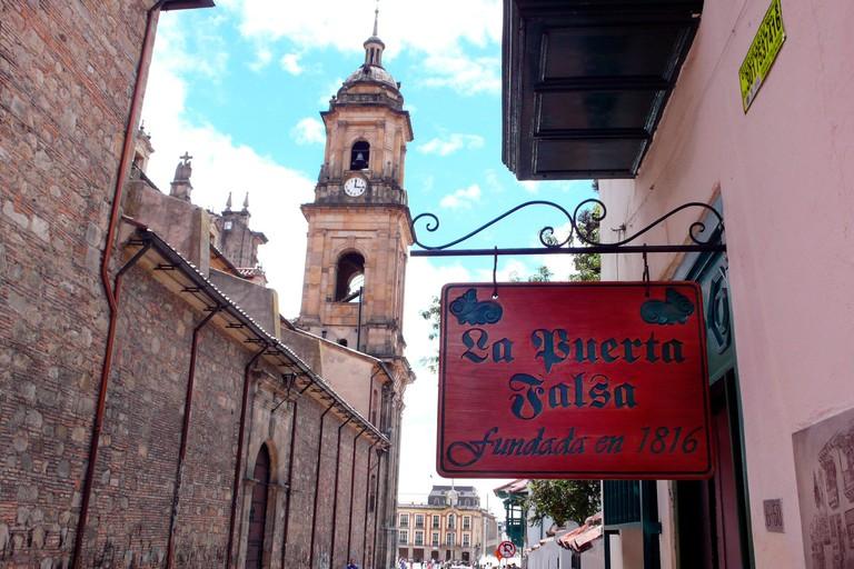 La Puerta Falsa Restaurant and Cathedral of Bogota, Bogota, Colombia