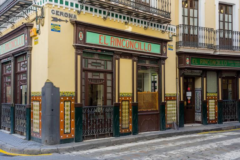 Front facade of the historic El Rinconcillo, Seville, Andalusia, Spain.