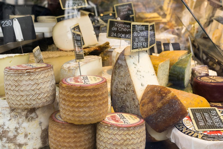 Cheese at the Bastille market, Paris