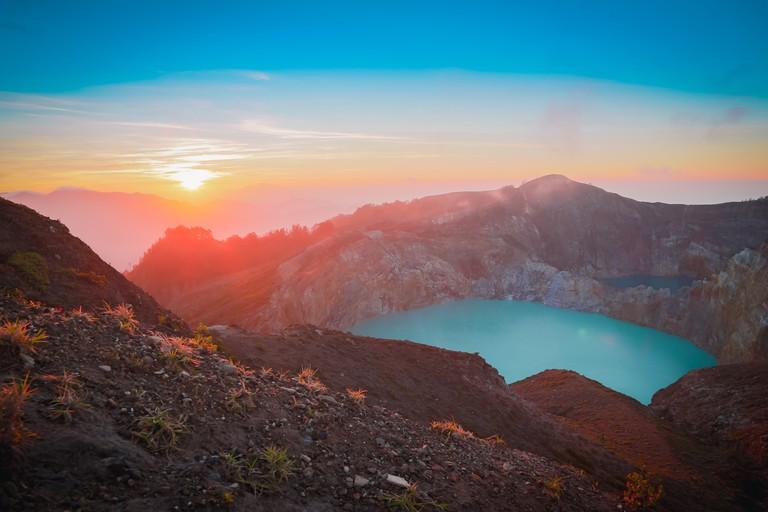 Sunrise at Mount Kelimutu in Flores, Indonesia.