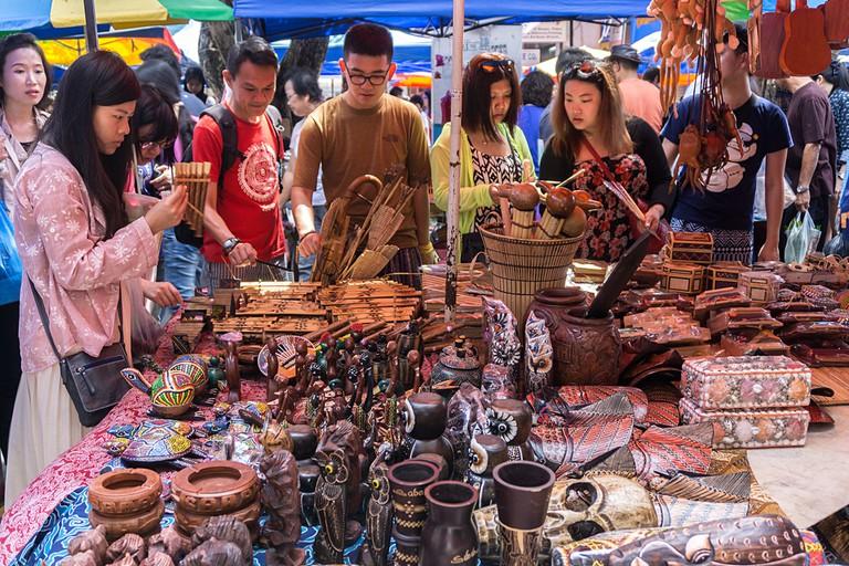 Sunday market at Gaya Street, Kota Kinabalu, Sabah, Malaysia.