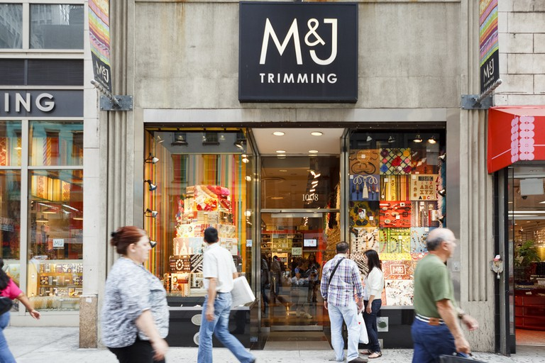 M&J Trimming on 6th avenue in Manhattan, a well known outlet of all sorts of trimmings (buttons, ribbons, crystals etc.).