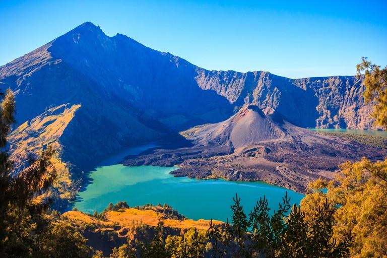 Panorama view of volcano mountain Rinjani of Indonesia.