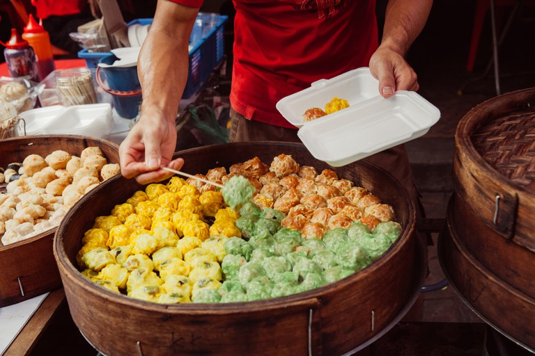 Traditional steamed buns at the street food stall in Malaysia