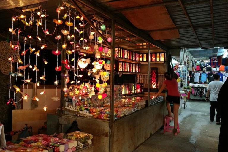Night street market in Penang, Malaysia.