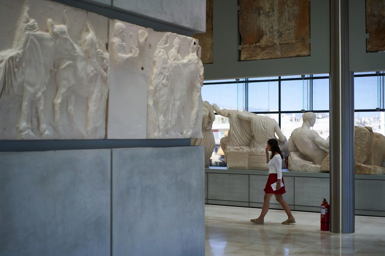Sculptures from The Parthenon, along with plastercasts of those still in the British Museum, the Elgin Marbles, on display in the Acropolis Museum