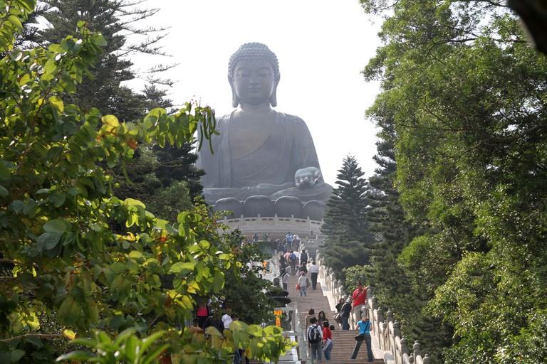 The Tian Tan Big Buddha statue on Lantau Island in Hong Kong, China