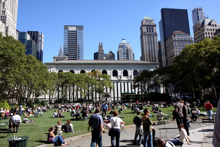 People getting a rest in Bryant park in midtown Manhattan, New York