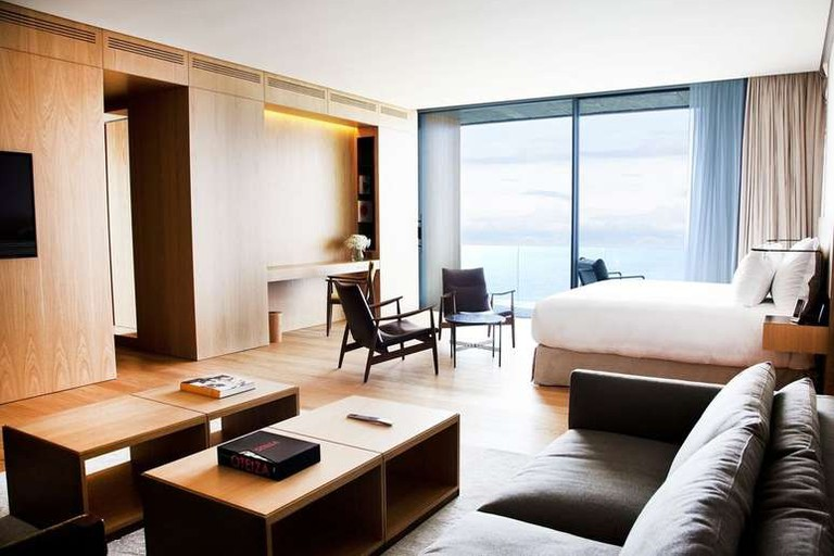 The Hotel Akelarre's rooms look out over the sea