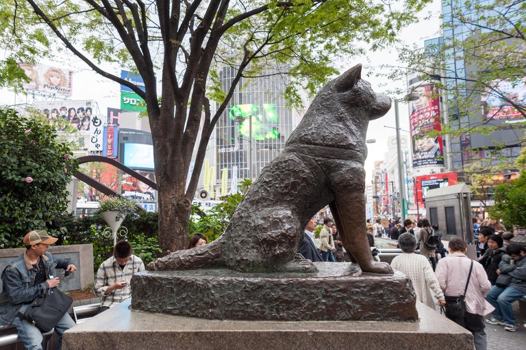Hachiko dog statue outside Shibuya station