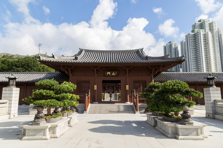 Chi Lin Nunnery in Hong Kong, China. Traditional Chinese architecture in Tang Dynasty style.