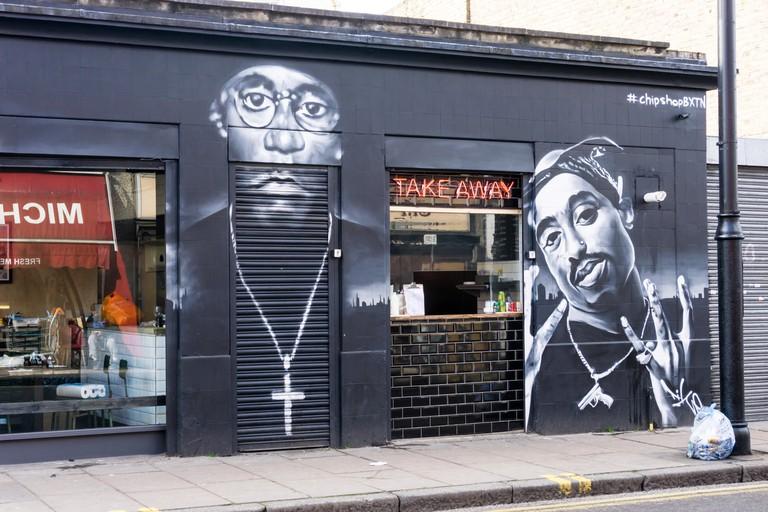 Takeaway window at  Chip shop BXTN in Coldharbour Lane, Brixton.