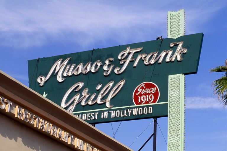 Musso and Frank sign over restaurant on Hollywood Blvd., Los Angeles, CA