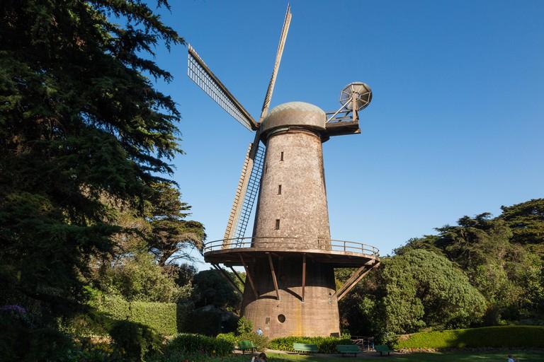 The Dutch Windmill and Queen Wilhelmina Tulip Garden at the Golden Gate Park, San Francisco