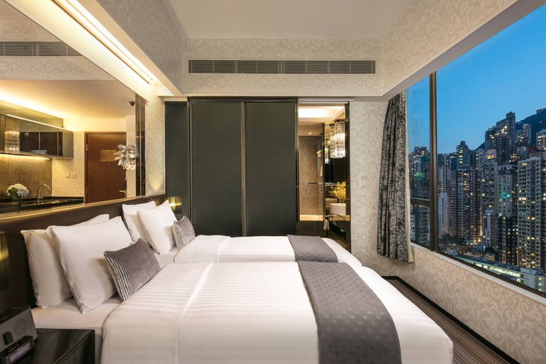 Views for days from this one-bedroom suite at Citadines Mercer Hong Kong