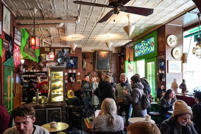 A view inside Caffe Reggio in Greenwich Village in Manhattan in New York City.