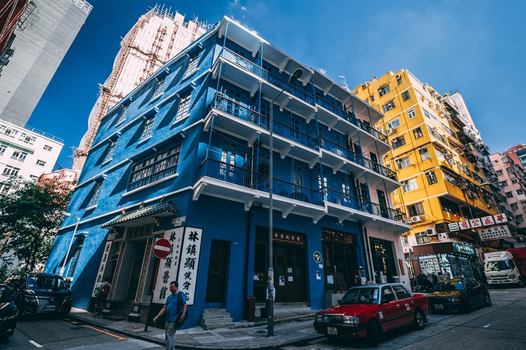 HONG KONG - MAY 30, 2018: Blue house building in Wan Chai Hong Kong