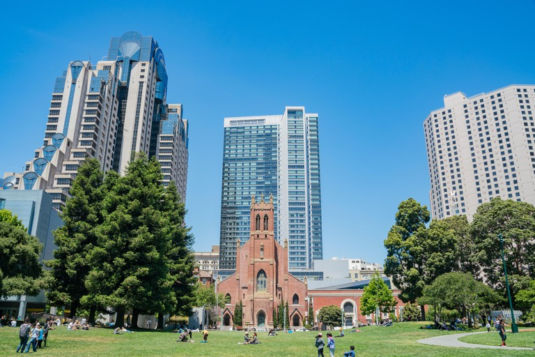 The Yerba Buena Gardens are in the middle of the Financial District