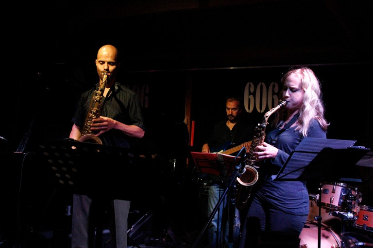 Saxophone players at London's 606 Club