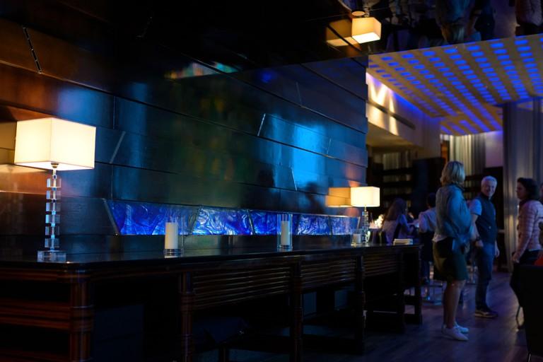 The Blue Bar at the Four Seasons Hotel in Hong Kong.