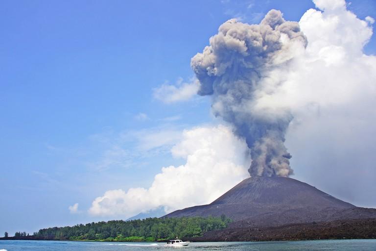Dark gray ash and white steam mixed when small Krakatoa erupted.