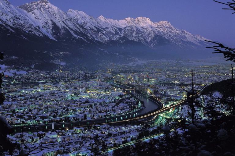 Innsbruck in winter nighttime