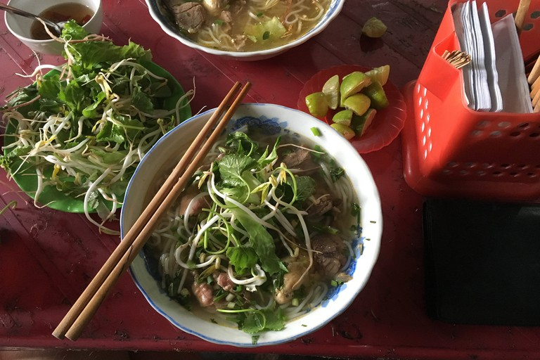 Bun bo Hue and its garnishes