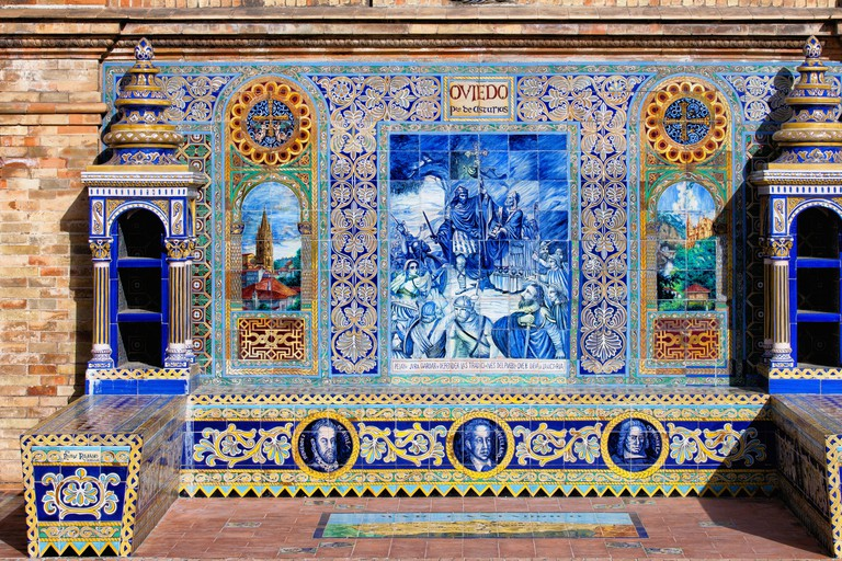 Bench with Azulejos Tiles in Seville, Spain.